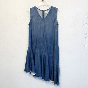 Anthro Cloth & Stone Chambray Asymmetrical Dress